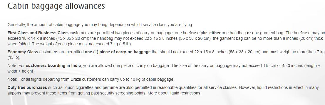 bagage emirates