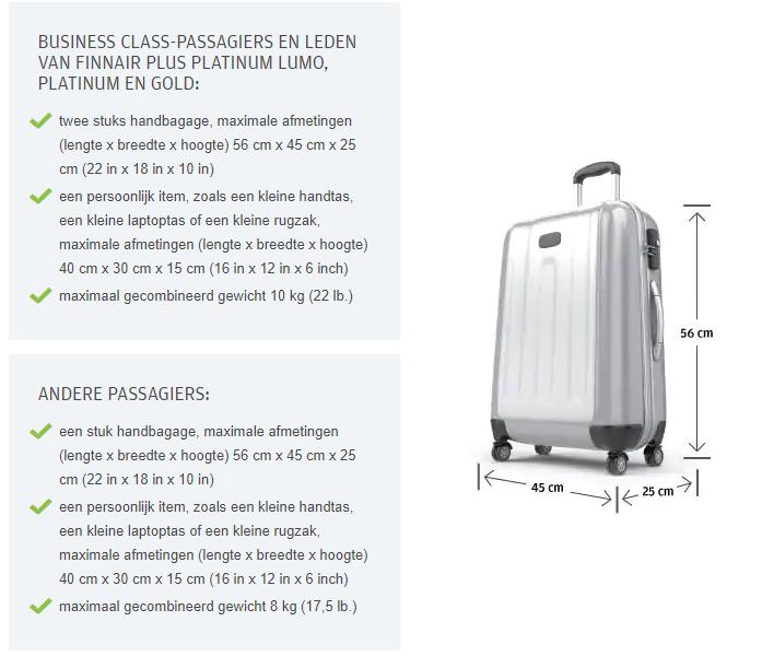 finnair regels handbagage