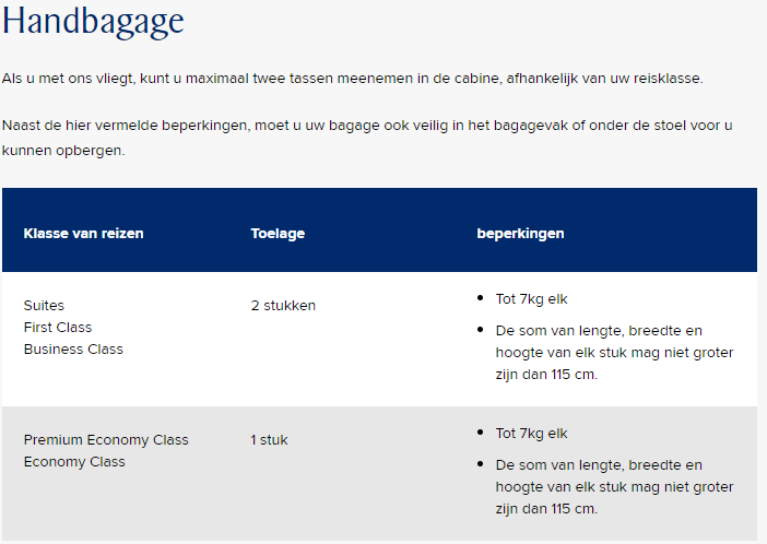 handbagage singapore airlines